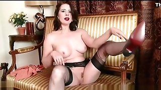 Cougar Karina Currie Strips Off Retro Underwear And Playthings Cunny In Nylons Stilettos