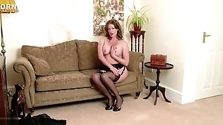 Red-haired Cougar Masturbates Fuck Stick Equipment In Antique Undergarments Nylons