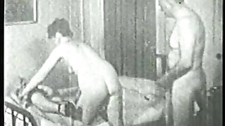 Old dude luvs hot threesome with two horny chicks in the bedroom
